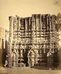 Close view of sculptural detail of inner face of unfinished rear gopura of the Ramalingeshvara Temple, Tadpatri.